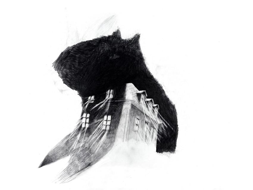 La maison aux esprits I, graphite on paper, 30.5 x 37 cm, 2013
