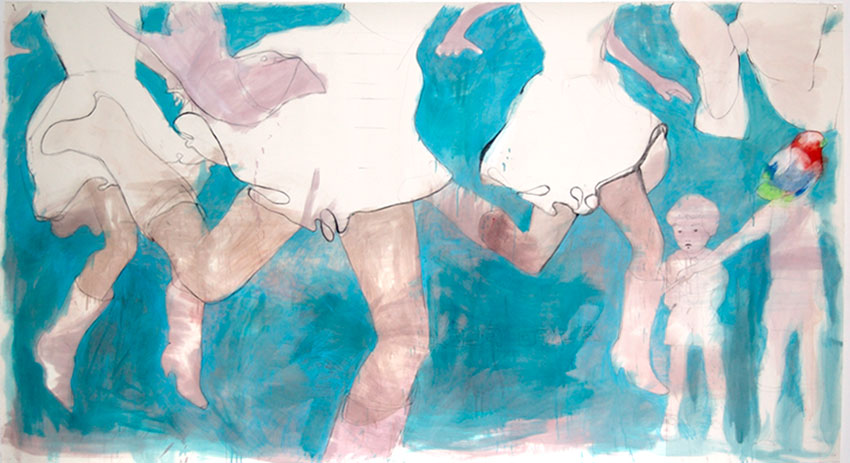No title, graphite, color pencil, oil on paper, 150 x 295 cm, 2007