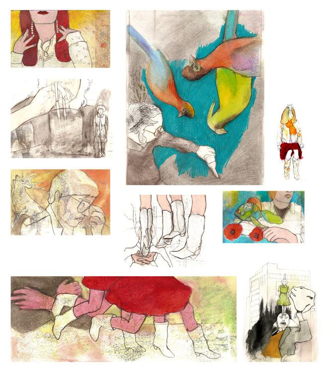 Sans titre, graphite, crayon de couleur sur papier, série conà§ue à partir d'une narration personnelle, 2008
