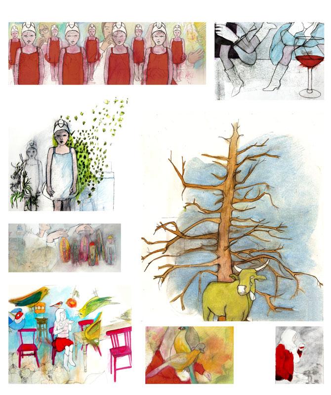 No title, graphite, color pencil, oil on paper,  a serie designed on a personal narrative, 2008