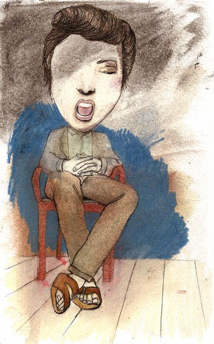 La vie intérieure, graphite, crayons de couleur, huile sur papier, 20 x 12 cm, 2010
