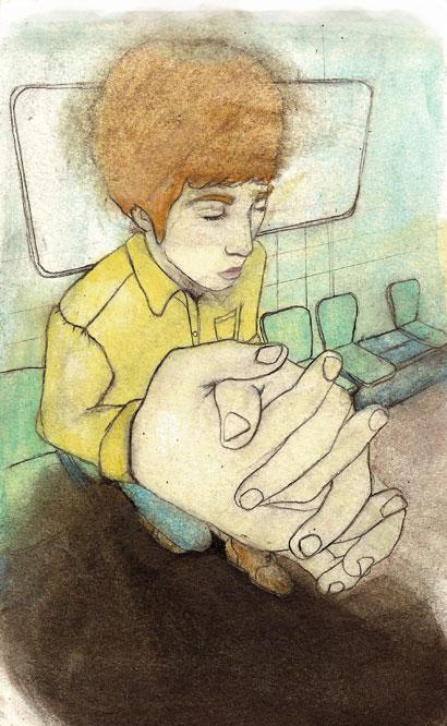 De l'or dans les mains, graphite, crayons de couleur, huile sur papier, 20 x 12 cm, 2010