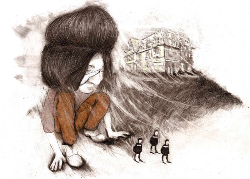 When children go into exile, graphite, color pencil, oil on paper, 21 x 29cm, 2012