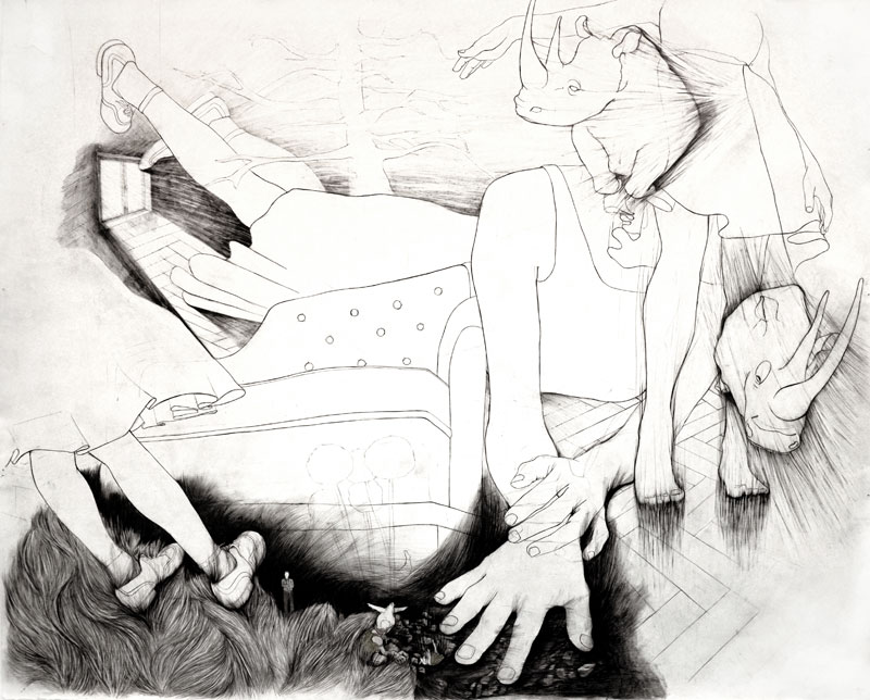 We ignore who is standing, graphite, color pencil, oil on paper,  152 x 180 cm, 2009/2012