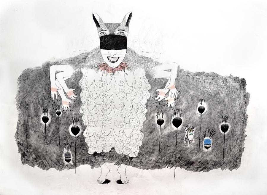 Entre chien et loup,graphite,color pencil, oil on paper, 56 x 76 cm, 2015